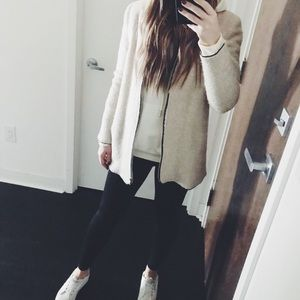 Faux Fur Thin Round Neckline Zip Up Coat Jacket